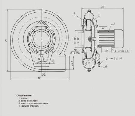 Вентилятор возврата уноса высоконапорный ВВУ-4,3-3000